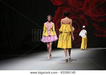 ZAGREB, CROATIA - APRIL 12 : Fashion model wears clothes made by Lokomotiva on