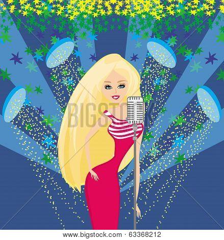 Beautiful Glamour Karaoke Girl.