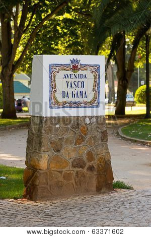 The index with Vasco Da Gama Street name in Cascais city