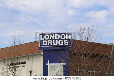 Coquitlam BC Canada - April 14 2014 : London Drugs is a chain of Canadian retail stores with headquarters in Richmond, British Columbia. As of June 2013, the chain had 77 stores over Canada.