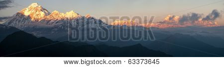 Evening Panoramic View Of Mount Dhaulagiri And Mount Annapurna - Nepal