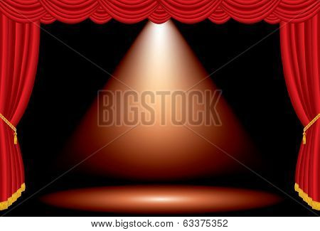 vector one red spot on wide stage with red curtain