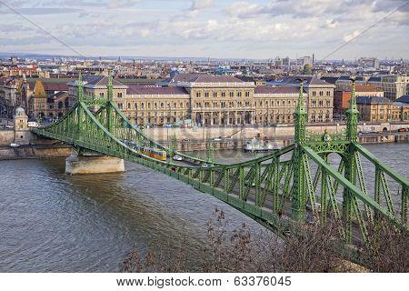 Liberty Bridge Over Danube River In Budapest