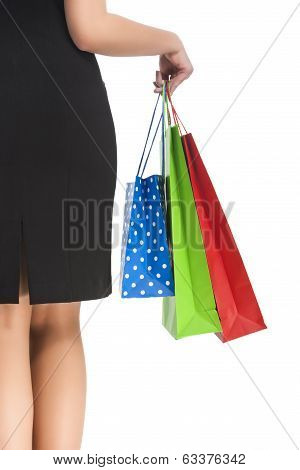 Back Of Caucasian Woman Holding Shopping Bag
