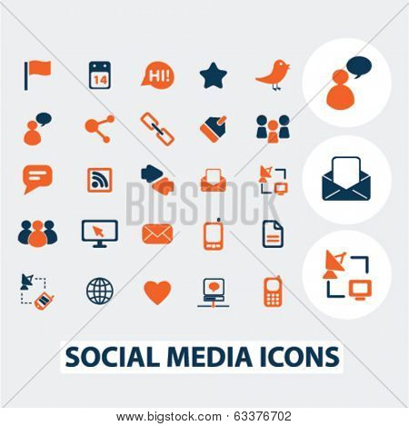 social media, blog, internet icons, signs, elements set, vector