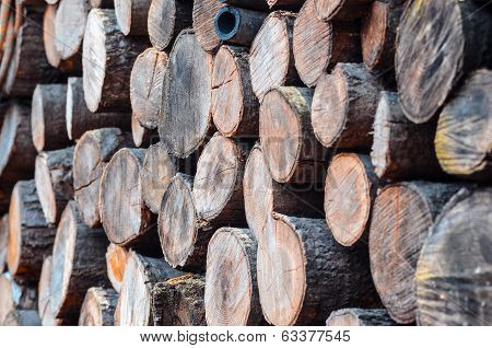 Stock Of Woodpile Seen From 45 Degree Angle
