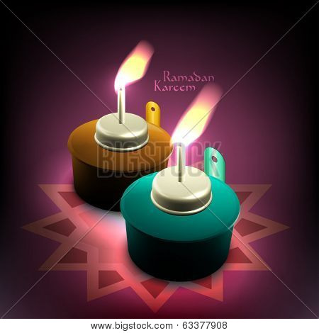 Vector 3D Muslim Oil Lamp - Pelita. Translation: Ramadan Kareem - May Generosity Bless You During The Holy Month.