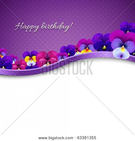 Lilac Flowers Pansies Card With Gradient Mesh, Vector Illustration