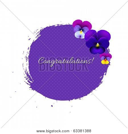 Blob With Pansies With Gradient Mesh, Vector Illustration
