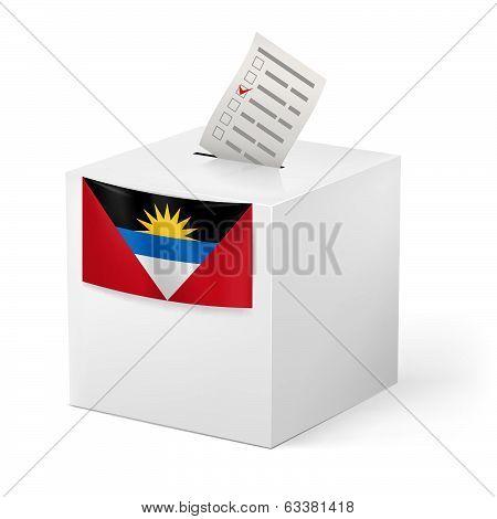 Ballot box with voting paper. Antigua and Barbuda