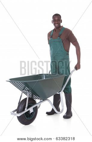 Male Gardener With Wheelbarrow