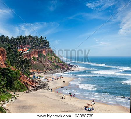 One of India finest beaches - Varkala beach, Kerala, India