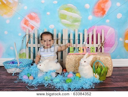 Sweet African Boy Posing In Easter Scene