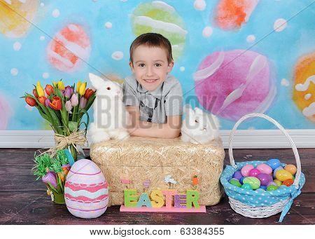 Sweet Little Boy Posing For Easter