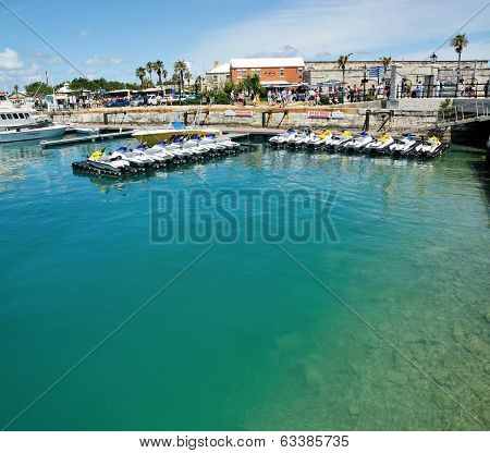Boats And Jet Skis Docked