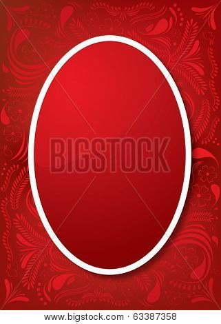Easter Greeting Card with red egg and ornamental background Vector illustration for your spring happy holiday design