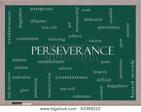 Perseverance Word Cloud Concept On A Blackboard