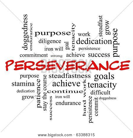 Perseverance Word Cloud Concept In Red Caps