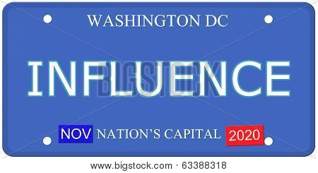 Washington Dc Influence License Plate