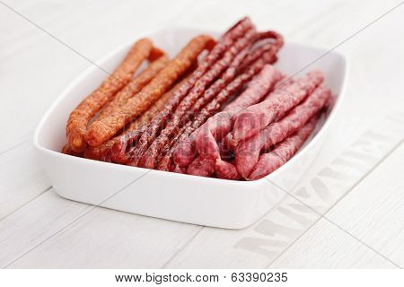 Polish long thin dry sausage made of pork and beef - food and drink