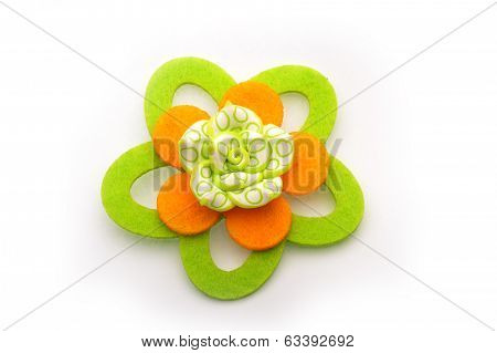 Felt Flowers Brooch On White