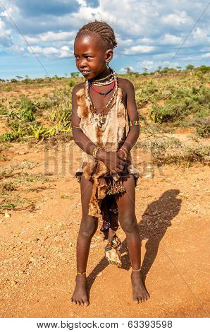 Small Girl From Hamar Tribe .