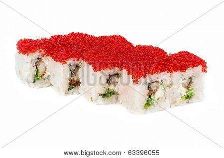 Roll with cream cheese, tobiko caviar, smoked eel and greens at white