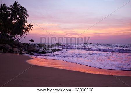Sunset on the ocean, Sri Lanka beach