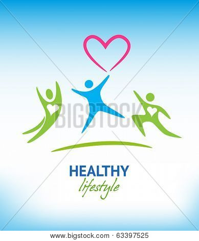 Healthy lifestyle background with exercising people.