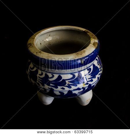 Incense Burner Ceramic Isolated On Black