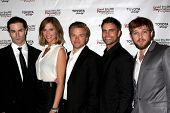 LOS ANGELES - APR 11:  Sam Witwer, Tricia Helfer, Colin Egglesfield, Brett Davern, Max Thieriot at t