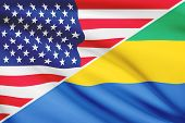 Series Of Ruffled Flags. Usa And Gabonese Republic.