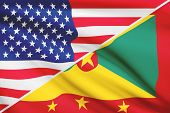 Series Of Ruffled Flags. Usa And Grenada.