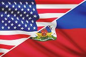 Series Of Ruffled Flags. Usa And Republic Of Haiti.