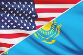 Series Of Ruffled Flags. Usa And Republic Of Kazakhstan.