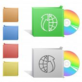 Globe and array up. Box with compact disc. Raster illustration.