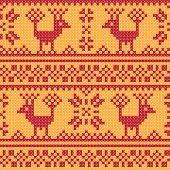 Cross stitch flower and deer ornament seamless background