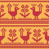 Cross stitch flower and bird ornament seamless background