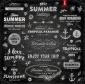Retro elements for Summer calligraphic designs. Chalkboard background. Black illustration variant.