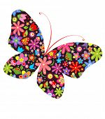 Print with butterfly. Raster copy