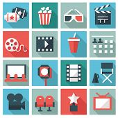 stock photo of popcorn  - Cinema icons - JPG