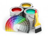 stock photo of paint palette  - Cans of paint with colour palette and paintbrush - JPG