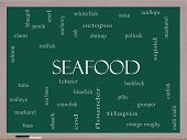 stock photo of bluegill  - Seafood Word Cloud Concept on a Blackboard with great terms such as lobster haddock shrimp and more - JPG