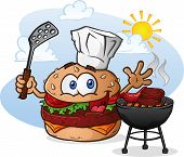 stock photo of charcoal  - A cheeseburger chef cartoon character - JPG