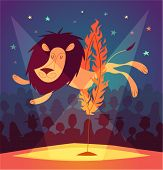 picture of lion  - Lion jumping circus show - JPG