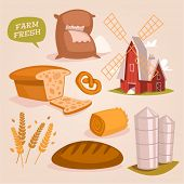 Cereals and flour products. Retro style vector elements.