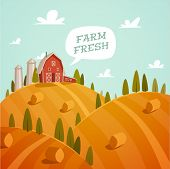 Farm fresh. Organic food. Retro style vector illustration.