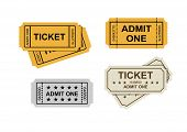image of receipt  - vector admit one tickets icons on white - JPG