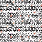 stock photo of cross-hatch  - Vector geometric pattern with small hand drawn squares and randomly placed hearts and crosses can be used for web - JPG