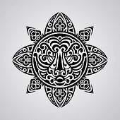 picture of tiki  - vector sun with tiger face in the centre tattoo sketch Polynesian tattoo style - JPG